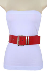 Women Shiny Red Color Faux Leather Waistband Belt Gold Metal Buckle Fits M L XL