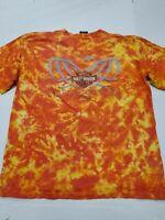 Harley Davidson Motorcycles Men's Orange Tie Dye Tampa Florida T-Shirt Large
