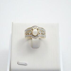 Stunning 10K Gold 8x6mm Oval w/ .50CTW Diamond Accent - Semi-mount - size 6