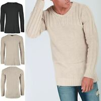 Men's Full Sleeve Crew Neck Waffle Ribbed Knitted Sweater Casual Pullover Jumper