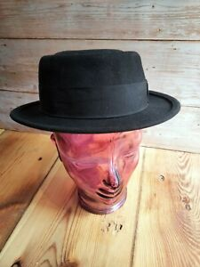Black Made in England Classic Pork Pie Hat 55cm 21.5 Inches SMALL X SMALL