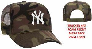 New York Yankees Baseball Foam Front - Mesh Back - Snap Back Trucker Hat
