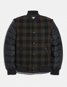 Coach Plaid Varsity Wool Hybrid Convertible Vest Puffer Jacket M L