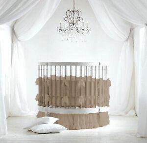 "42"" Round Ruffle Crib Baby Bedding Set Fitted Skirt Comforter Pillowsham Bumper"