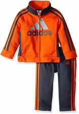NWT Adidas Baby Boys 3M Tricot Zip Track Suit Jacket Pant Set Bright Orange Gray