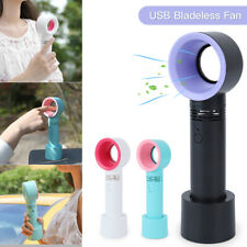 360 Degrees Mini Portable Bladeless Hand Held Cooler USB Cable No Leaf Handy Fan