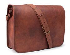 Goat Leather Vintage Brown Messenger Bag man Shoulder Laptop Bag Briefcase