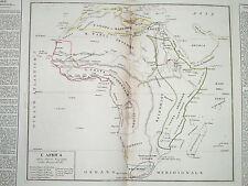 Carta Geografica Africa Divisioni Governo Egitto, Costa di Barberia, Guinea 1824