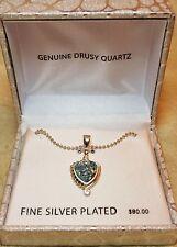 Drusy Quartz Light Blue Silver Plated Womens Pendant Necklace
