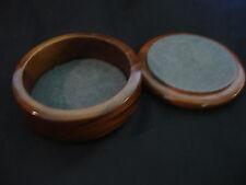 Collectible Wood Circle Circular Box With Swirl Inlay