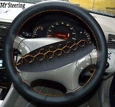 FOR MERCEDES E CLASS W211 02-09 REAL LEATHER STEERING WHEEL COVER YELLOW STITCH