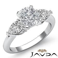 Corte Almohada Diamante Ideal 3 Piedras Anillo de Compromiso GIA F SI1 Platino