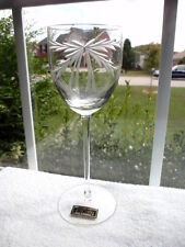 Hand Blown/Hand Cut Toscany Crystal (Romania) Wine Glass Etched Ribbon