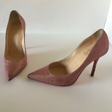 Christian Louboutin Pigalle Heels Woven Glitter Pink Shoes Size 37.5 EU 6.5 US
