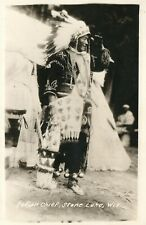 AMERICAN INDIAN CHIEF STONE LAKE WI ANTIQUE REAL PHOTO POSTCARD RPPC