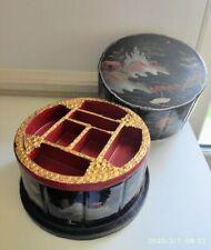 ANCIEN BOITE LAQUE NOIRE PAYSAGE pagode ,pont or rouge argent  JAPON MEIJI