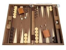 """19"""" Wood Backgammon Set - Walnut Inlay - Brown Wooden Board"""