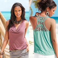 Summer Women Top Blouse Sexy Lace V-Neck Sleeveless Vest Tank Top Casual T-Shirt