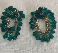 DeLILLO large green dangle clip crystal earrings~VINTAGE~MINT~SIGNED