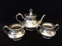 Vintage Pairpoint Mfg New Bedford Quadruple Plate Teapot, Sugar Bowl Creamer Set