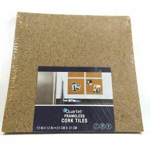 Quartet Pack of 4 Frameless Natural Cork Tiles Boards 12x12 inches New