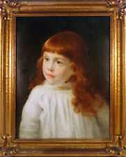 Portrait Of A Young Girl, H. F. Osborne Signed & Dated 1887 American, Oil Canvas