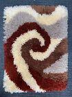 Vintage 70s Abstract Spiral Rug Fiber Art Brown Rust Gray Mid Century Modern