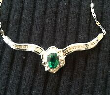 Emerald -lab made necklace set in 14 carat white gold