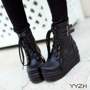 Casual Women's Gothic High Wedge Heels Platform Riding Ankle Boots Fall Shoes