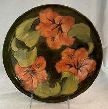 "Vtg Moorcroft Green HIBISCUS 9 1/2"" Bowl Designed By Walter Moorcroft 1953 NICE"