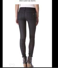 Rag & Bone Devi 24 Lace Up Skinny Jeans Preowned Dark Grey