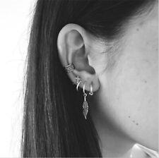 5Pcs Boho Women Retro Silver Cross Leaf Ear Stud Ring Cuff Wrap Dangle Earrings