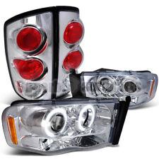 2002-2005 Dodge Ram Chrome Projector LED Headlights+Clear Tail Brake Lights