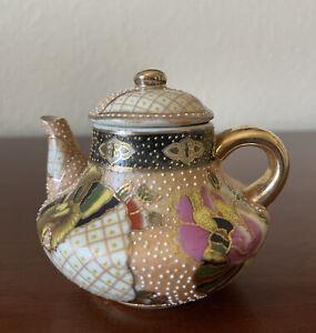 Signed Antique Meiji Era 19th C. Miniature Teapot Satsuma Japanese