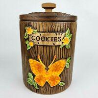 Vintage 1970s Treasure Craft Butterfly Cookie Jar Canister Orange Glaze