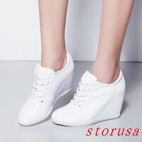 # Size Women Lady High Wedge Heel Platform Hi Top Sneakers Shoe Lace UP Platform