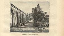 Stampa antica BOLOGNA Chiesa di San Luca Emilia 1891 Old antique print