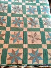Antique Hand Sewn Patchwork Quilt, 8 Pointed Lemoyne Star Pattern, Early 1900's