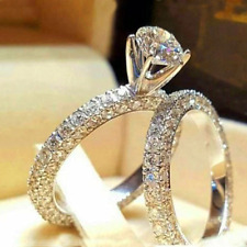3ct Round Cut Diamond Engagement Ring 14ct White Gold Over Bridal Set Solitaire