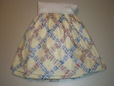 Wavy Carousel Plaid Ribbons Gathered QUEEN BED SKIRT Cotton Cottage Kids USA