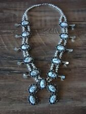 Native American Jewelry White Howlite Squash Blossom Necklace by Jackie Cleve...