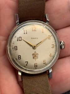 Vintage Timex Full Size Boy Scout Watch Manual Wind Currently Running
