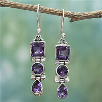 Fashion 925 Silver Amethyst Earrings Square Round Ear Drop Dangle Hook Jewelry