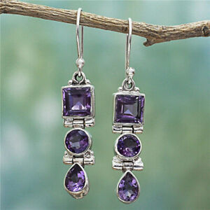 Women 925 Silver Amethyst Square Round Pear Ear Drop Dangle Hook Earring Jewelry