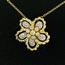"18K Yellow & White Gold 1.22ctw F VS Diamond Cluster Flower Pendant w/ 20"" Chain"
