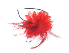 Red flower lace feather & beading fascinator headband for weddings, races, prom