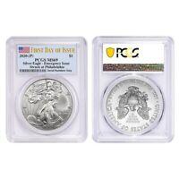 Lot of 2 - 2020 (P) 1 oz Silver American Eagle PCGS MS 69 FDOI Emergency Issue