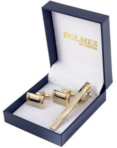 GOLD CUFF LINKS TIE CLIP PIN SHIRT WEDDING FAVOUR BOXES GIFT CUFFLINKS UK ct19