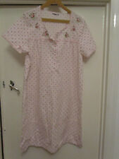 M&S Pink Floral Embroidered Nightie in Size 12 - 14 S / Petite