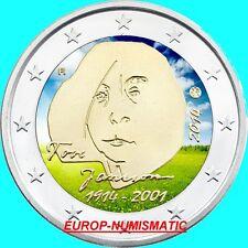 """FINLANDE 2014 2 EUROS CC """"TOVE JANSON"""" COULEUR/COLORISE/COLOR/ KLEUR/COLORIERT"""